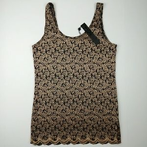 BKE Boutique metallic gold lace tank top NWT